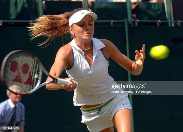 Slovakia's Daniela Hantuchova in action against Slovenia's Katarina Srebotnik during the third round of The All England Lawn Tennis Championships at...