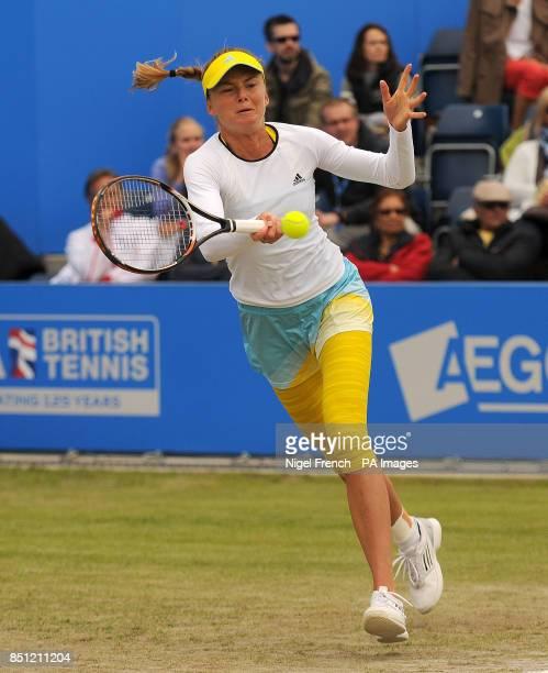 Slovakia's Daniela Hantuchova in action during her final against Croatia's Donna Vekic during the AEGON Classic at Edgbaston Priory Birmingham