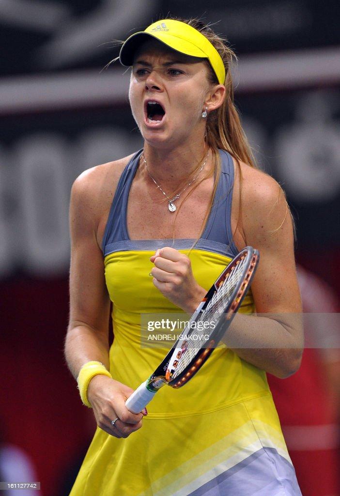 Slovakia's Daniela Hantuchova reacts after winning against Serbia's Bojana Jovanovski during their 2013 Fed cup World Group first round tie tennis match between Serbia and Slovakia on February 9, 2013, in Nis.