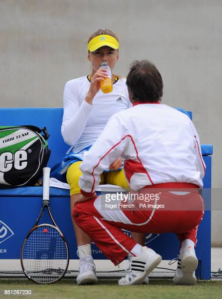 Slovakia's Daniela Hantuchova receives treatment in between games during the final against Croatia's Donna Vekic during the AEGON Classic at...