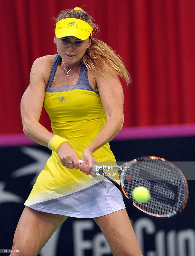 Slovakia's Daniela Hantuchova returns the ball to Serbia's Bojana Jovanovski during their 2013 Fed cup World Group first round tie tennis match between Serbia and Slovakia on February 9, 2013, in Nis.