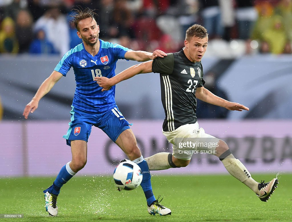Slovakia's defender Dusan Svento (L) and Germany's midfielder Joshua Kimmich vie for the ball during the friendly football match between Germany and Slovakia in Augsburg, southern Germany, on May 29, 2016. / AFP / CHRISTOF