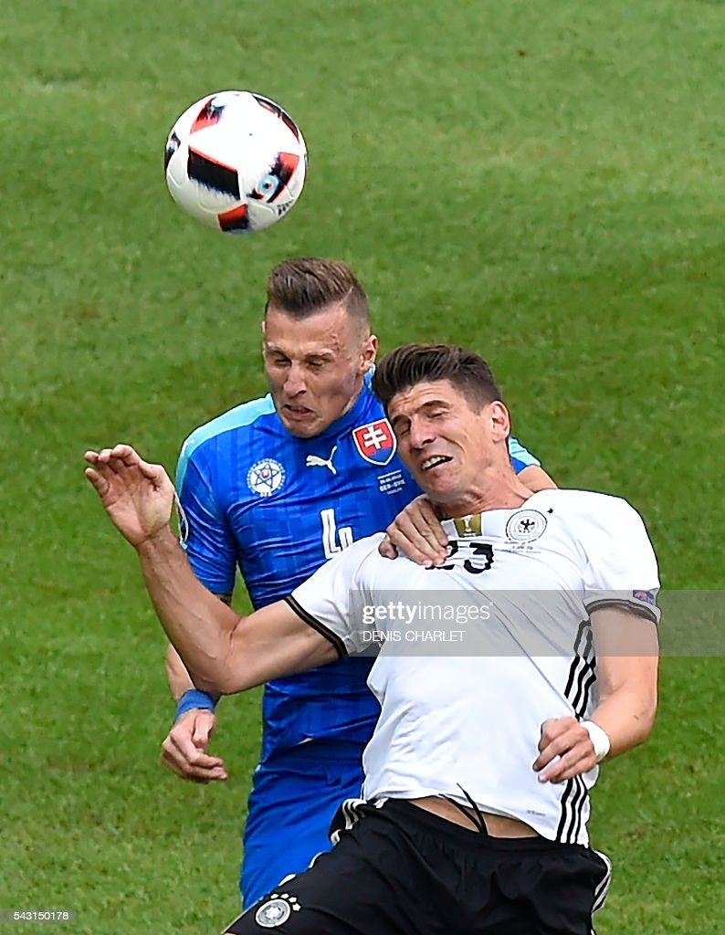Slovakia's defender Jan Durica (L) vies with Germany's forward Mario Gomez (R) during the Euro 2016 round of 16 football match between Germany and Slovakia at the Pierre-Mauroy stadium in Villeneuve-d'Ascq, near Lille, on June 26, 2016. / AFP / DENIS