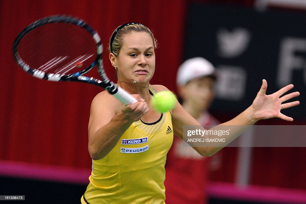 Slovakia's Jana Cepelova returns the ball to Serbia's Bojana Jovanovski during the Fed cup World group first round tie tennis match between Serbia and Slovakia on February 10, 2013, in Nis.