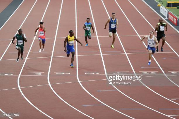 Slovakia's Ján Volko wins a preliminary round of the men's 100m athletics event at the 2017 IAAF World Championships at the London Stadium in London...