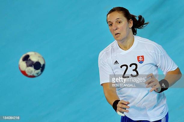 Slovakia's Katarina Dubajova passes the ball during a Women's International Invitational match between Solvakia and Poland at the Handball Centre in...