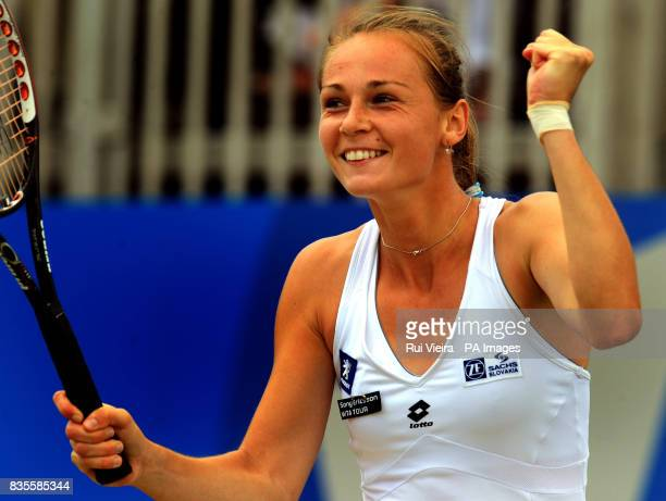 Slovakia's Magdalena Rybarikova celebrates after beating China's Na Li during the Final of the AEGON Classic at Edgbaston Priory Birmingham