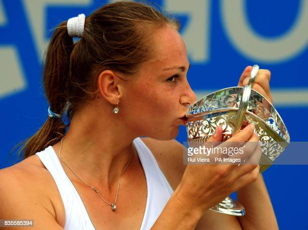 Slovakia's Magdalena Rybarikova celebrates with the trophy after beating China's Na Li during the Finals of the AEGON Classic at Edgbaston Priory...