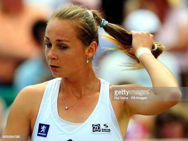 Slovakia's Magdalena Rybarikova during her match against India's Sania Mirza during the Semi Finals of the AEGON Classic at Edgbaston Priory...