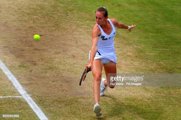 Slovakia's Magdalena Rybarikova in action against China's Na Li during the Finals of the AEGON Classic at Edgbaston Priory Birmingham