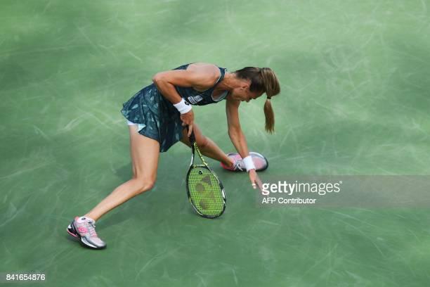 TOPSHOT Slovakia's Magdalena Rybarikova reacts losing a point against Spain's Garbiñe Muguruza during their 2017 US Open Women's Singles match at the...