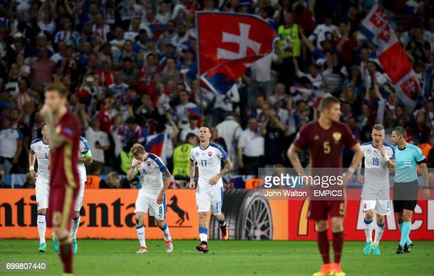 Slovakia's Marek Hamsik celebrates scoring his side's second goal of the game