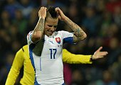 Slovakia's Marek Hamsik reacts during the Euro 2016 Group C qualifying football match between Slovakia and Belarus in Zilina Slovakia on October 9...