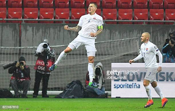 Slovakia's Martin Skrtel celebrates scoring the 30 goal during the World Cup 2018 qualification football match between Slovakia and Lithuania in...