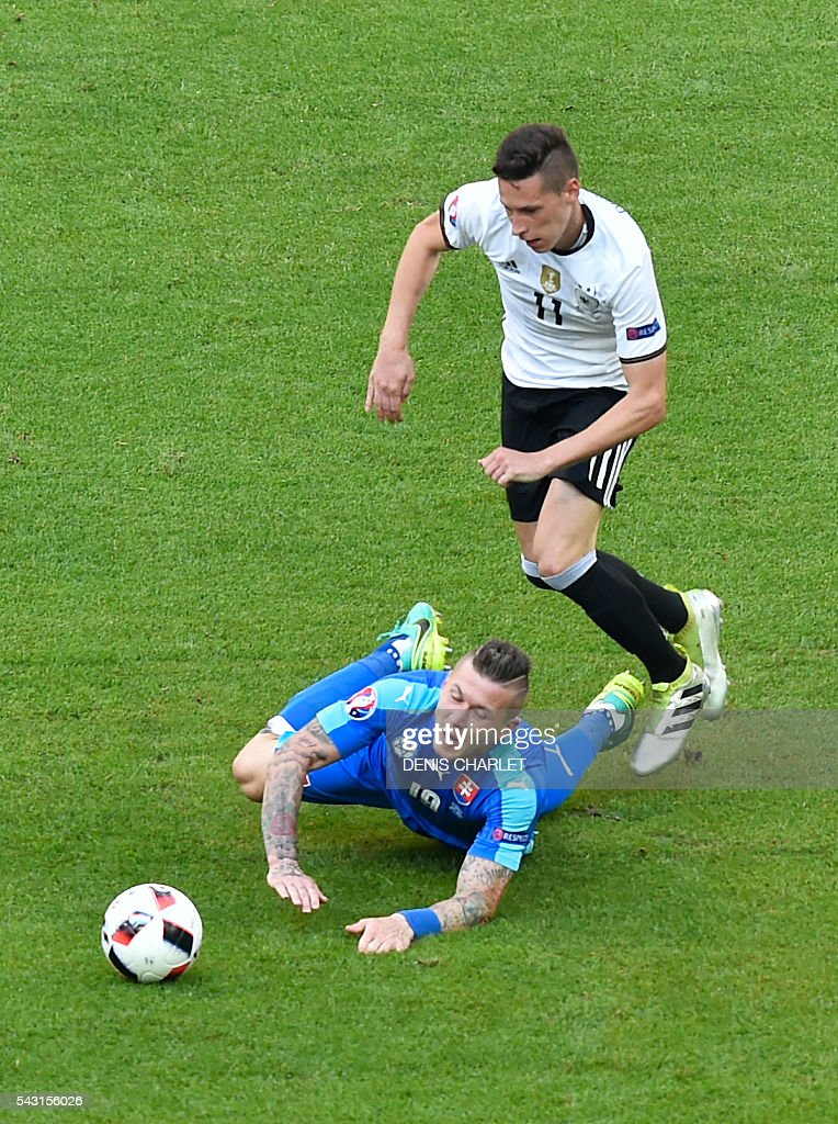 Slovakia's midfielder Juraj Kucka (L) vies with Germany's midfielder Julian Draxler during the Euro 2016 round of 16 football match between Germany and Slovakia at the Pierre-Mauroy stadium in Villeneuve-d'Ascq, near Lille, on June 26, 2016. / AFP / DENIS