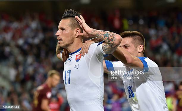 Slovakia's midfielder Marek Hamsik celebrates his goal during the Euro 2016 group B football match between Russia and Slovakia at the PierreMauroy...