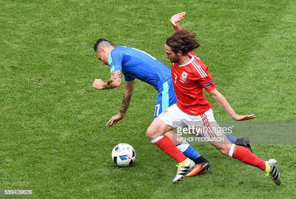 Slovakia's midfielder Marek Hamsik vies for the ball against Wales' midfielder Joe Allen during the Euro 2016 group B football match between Wales...