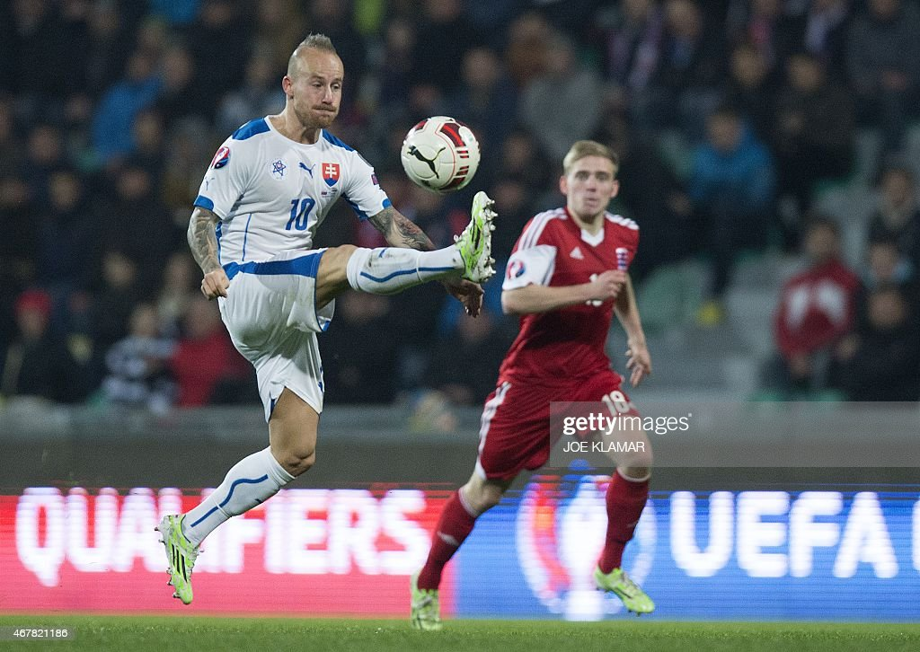 Slovakia's <a gi-track='captionPersonalityLinkClicked' href=/galleries/search?phrase=Miroslav+Stoch&family=editorial&specificpeople=5446681 ng-click='$event.stopPropagation()'>Miroslav Stoch</a> plays the ball during the EURO 2016 Group C qualifier football match Slovakia vs Luxembourg in Zilina, Slovakia on March 27, 2015.