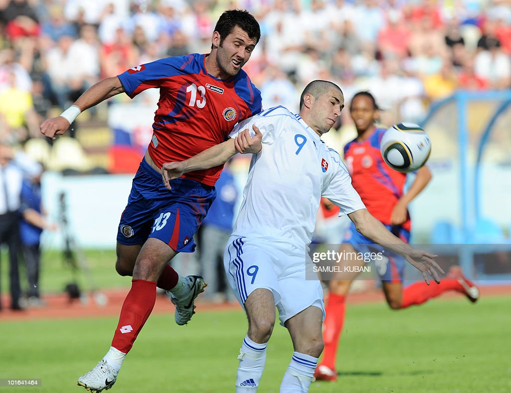 Slovakia's national team player Stanislav Sestak (R) and Costarican national team player Gonzalo Segares fight for the ball during their friendly match in Bratislava on June 5, 2010 ahead of the 2010 FIFA World Cup in South Africa.