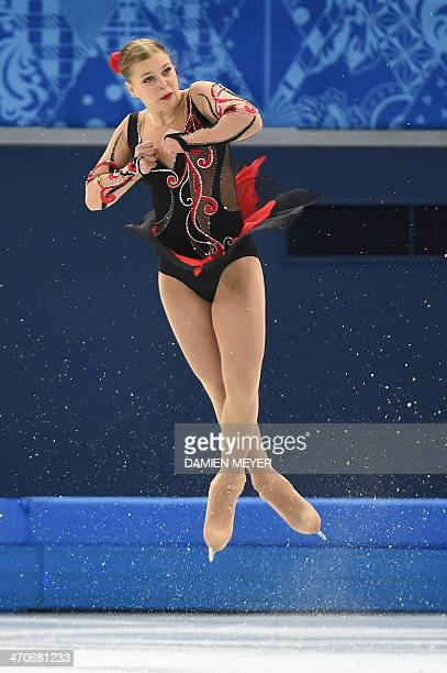 Slovakia's Nicole Rajicova performs in the Women's Figure Skating Free Program at the Iceberg Skating Palace during the Sochi Winter Olympics on...