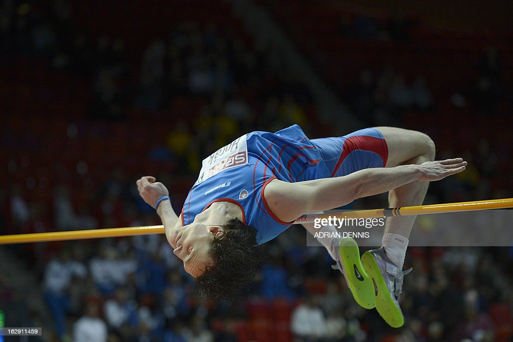 Slovakia's Peter Horak competes during the High Jump Men Group A Qualification event at the European Indoor Championships in Gothenburg, Sweden, on March 1, 2013.