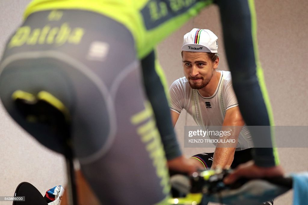 Slovakia's Peter Saga trains in his hotel, in Coutances, on July 30, 2016, two days before the start of the 103rd edition of the Tour de France cycling race. The 2016 Tour de France will start on July 2 in the streets of Le Mont-Saint-Michel and ends on July 24, 2016 down the Champs-Elysees in Paris. / AFP / KENZO