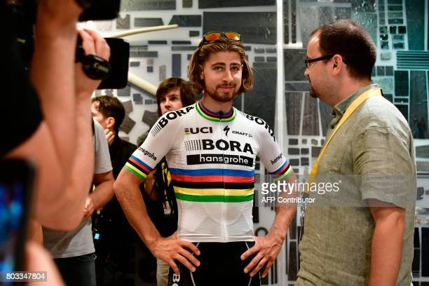Slovakia's Peter Sagan arrives at a bike store to give a press conference in Dusseldorf Germany on June 29 two days before the start of the 104th...