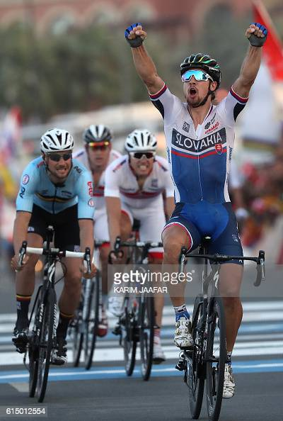 Slovakia's Peter Sagan celebrates after winning the men's elite road race event as part of the 2016 UCI Road World Championships on October 16 in the...