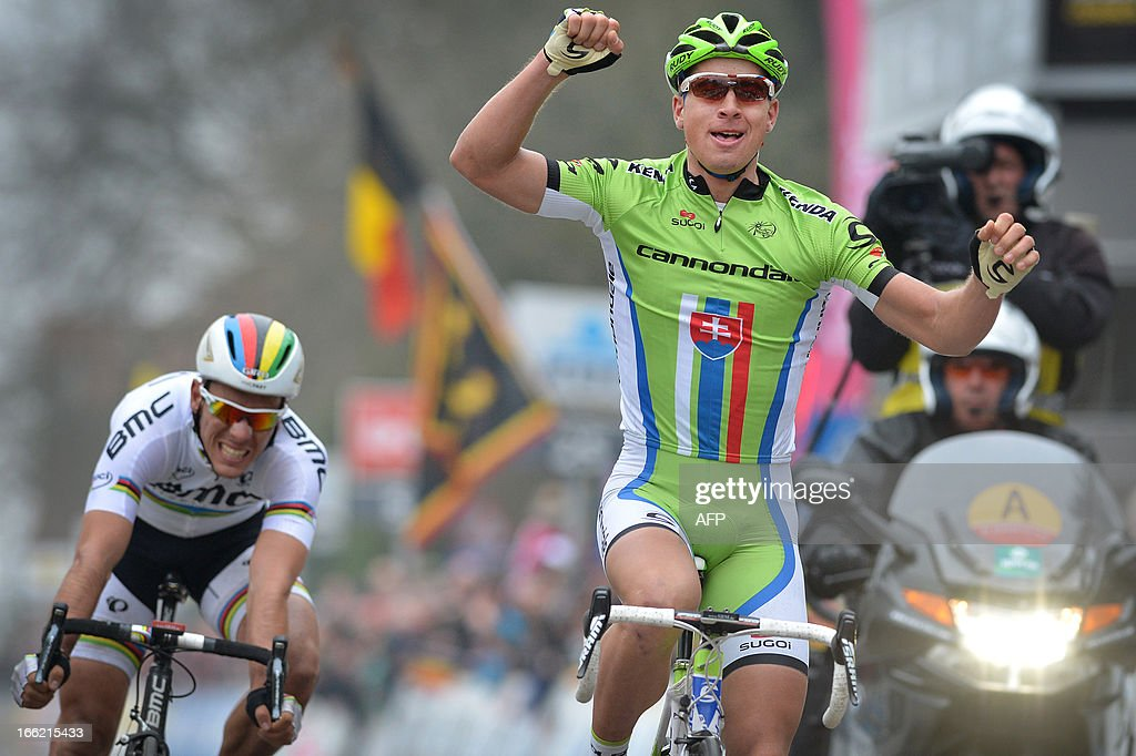Slovakia's Peter Sagan of Liquigas-Cannondale (R) celebrates as he wins in front of Belgian Philippe Gilbert of BMC Racing Team (L) on the finish line of the 53rd edition of the Brabantse Pijl one-day cycling race, 200km from Leuven to Overijse, on April 10, 2013, in Overijse.