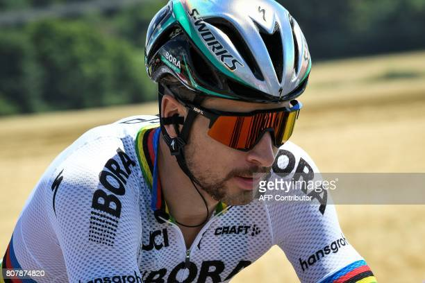 Slovakia's Peter Sagan rides during the 2075 km fourth stage of the 104th edition of the Tour de France cycling race on July 4 2017 between...