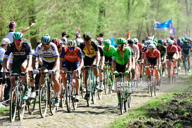 Slovakia's Peter Sagan rides on the cobblestones during the 115th edition of the ParisRoubaix oneday classic cycling race between Compiegne and...