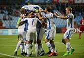 Slovakia's players celebrate after scoring during the Euro 2016 qualifying football match between Luxembourg and Slovakia at the Josy Barthel Stadium...