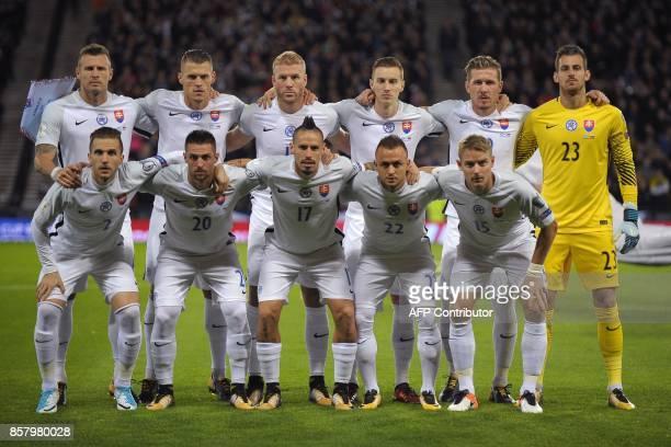 Slovakia's players Slovakia's defender Jan Durica Slovakia's defender Martin Skrtel Slovakia's striker Adam Nemec Slovakia's midfielder Jan Gregus...