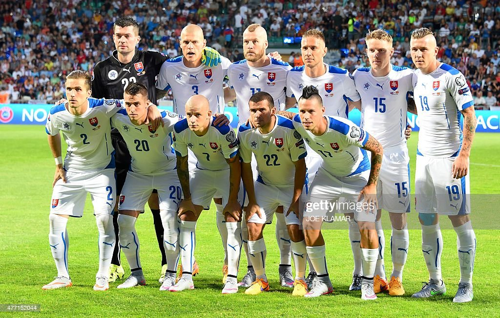 Slovakia's playerspose for the team photo prior to the Euro 2016 Group C qualifying football match Slovakia vs FYR Macedonia in Zilina Slovakia on...