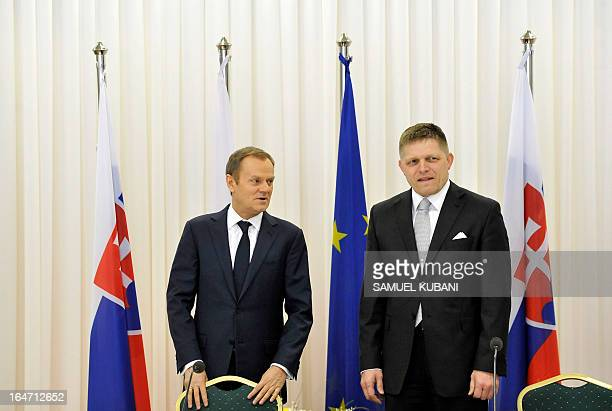 Slovakia's Prime Minister Robert Fico and Poland's Prime Minister Donald Tusk arrive for a meeting of Slovak and Polish ministers and prime ministers...