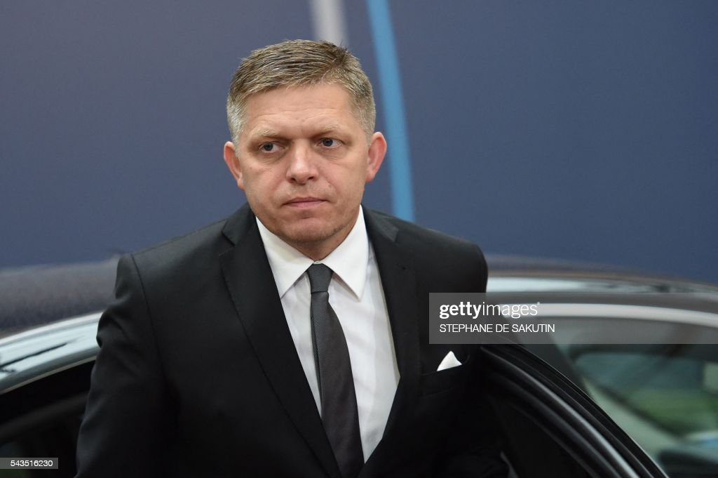 Slovakia's Prime minister Robert Fico arrives for the second day of an EU - Summit at the EU headquarters in Brussels on June 29, 2016. European Union leaders will on June 29, 2016 assess the damage from Britain's decision to leave the bloc and try to prevent further disintegration, as they meet for the first time without a British representative. / AFP / STEPHANE