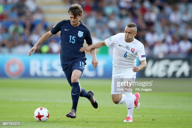 Slovakia's Stanislav Lobotka and England's John Swift battle for the ball during the UEFA European Under21 Championship Group A match at the...