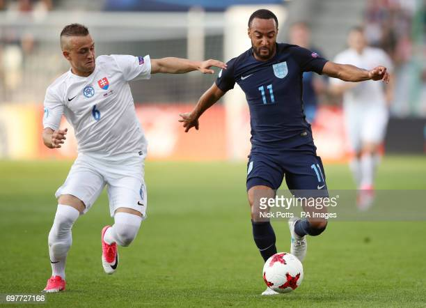 Slovakia's Stanislav Lobotka and England's Nathan Redmond battle for the ball during the UEFA European Under21 Championship Group A match at the...