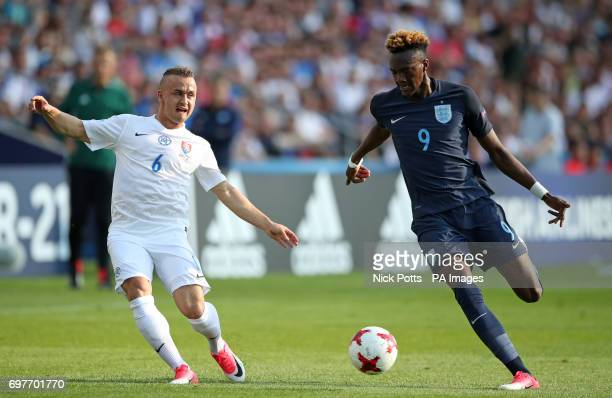Slovakia's Stanislav Lobotka and England's Tammy Abraham battle for the ball during the UEFA European Under21 Championship Group A match at the...