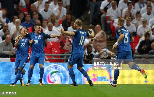Slovakia's Stanislav Lobotka celebrates scoring his side's first goal of the game during the 2018 FIFA World Cup Qualifying Group F match at Wembley...