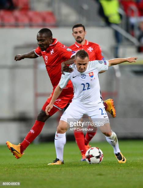 Slovakia's Stanislav Lobotka vies with Malta's Alfred Effiong during the FIFA World Cup 2018 qualification football match between Slovakia and Malta...