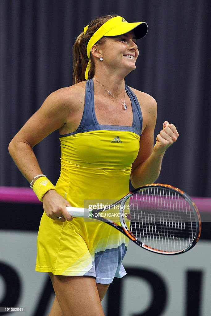Slovakia's tennis player Daniela Hantuchova celebrates her victory against Serbia's Vesna Dolonc during the Fed cup World group first round tie tennis match between Serbia and Slovakia on February 10, 2013, in Nis. AFP PHOTO / ANDREJ ISAKOVIC