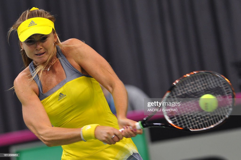 Slovakia's tennis player Daniela Hantuchova returns the ball to Serbia's Vesna Dolonc during the Fed cup World group first round tie tennis match between Serbia and Slovakia on February 10, 2013, in Nis.