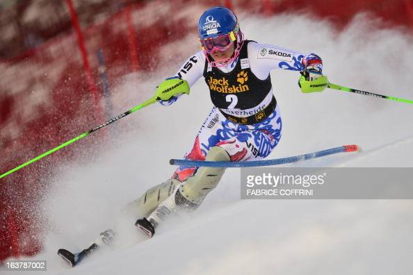 Slovakia's Veronika VelezZuzulova competes during the Women Slalom race at the Alpine ski World Cup finals on March 16 2013 in Lenzerheide AFP PHOTO...