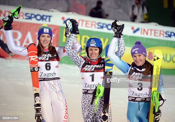 Slovakia's winner Veronika Velez Zuzulova Slovakia's second placed Petra Vlhova and third placed Czech Sarka Strachova celebrate on the finish line...