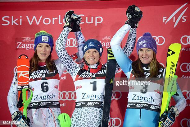 Slovakia's winner Veronika Velez Zuzulova Slovakia's second placed Petra Vlhova and third placed Czech Republic's Sarka Strachova celebrate on the...