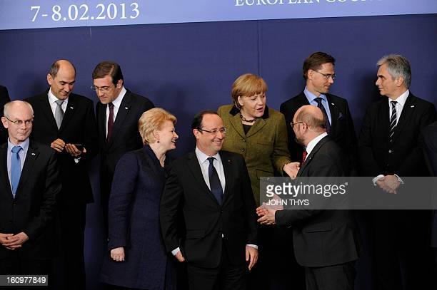 Sloven Prime Minister Janek Jansa Portuguese Prime Minister Pedro Passos Coelho Lithuanian President Dalia Grybauskaite French President Francois...