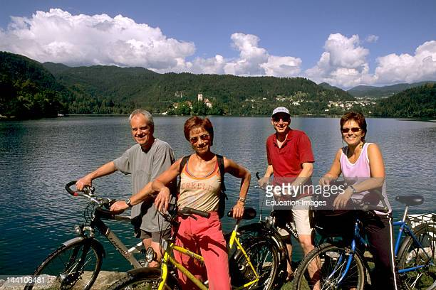 Slovenia Bled Lake Bled Tourists Bicycling