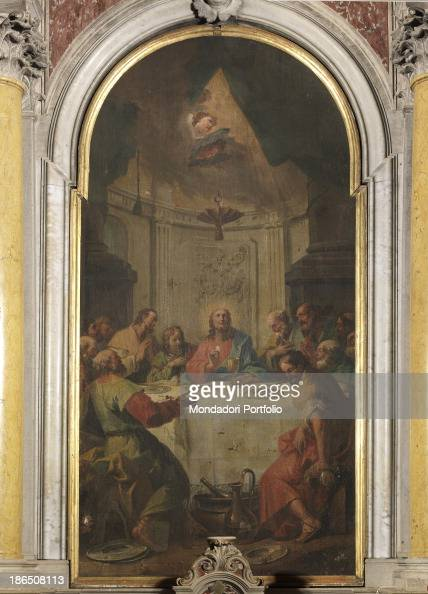 Slovenia Carcase St Michael the Archangel' s church Whole artwork view The altarpiece shows Christ sitting in the center of the scene and surrounded...