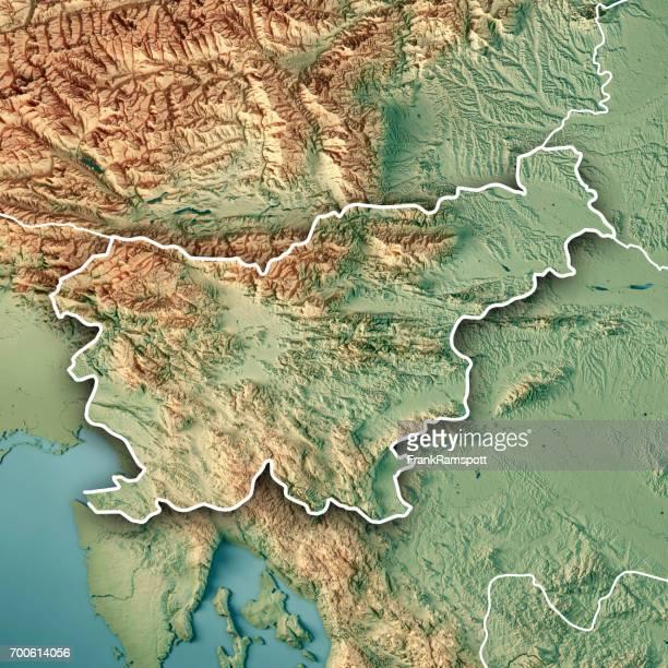 Slowenien Landesgrenze 3D Render topographische Karte